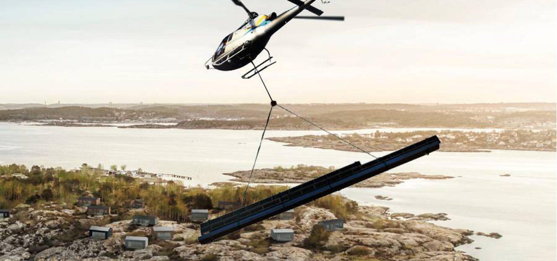 Osterman Helicopter levererar våra element till villor på Knarrholmen.